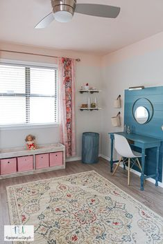 I'm sharing a girls bedroom with a pink ceiling and white bunk beds and green accents. The DIY pink ceiling started this whole new look! The pink ceiling with the white bunk beds and green accent wall with desk, it completes the look. #pinkceiling #girlsroom #girlsroomwithgreenccents Bunk Bed Sets, White Bunk Beds, Bunk Beds With Storage, Sister Room, Daughters Room, Green Accent Walls, Green Accents, Girls Bedroom, Bedroom Ideas