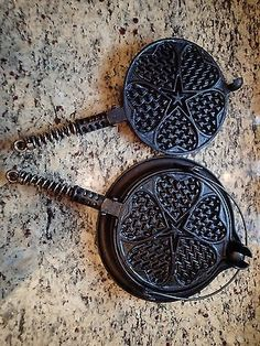 Griswold Cast Iron Hearts & Stars No 18 Low Waffle Iron 928. This baby looks brand new.