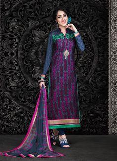 Ethnic NX Radiant Faux Crepe Churidar Designer Suit | http://www.ethnicnx.com/salwar-kameez/radiant-faux-crepe-churidar-designer-suit-7517