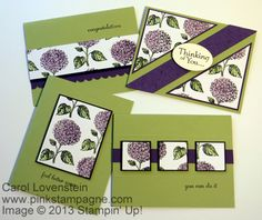 """13-in-One-derful (Cards 5-8 - Stepped Up Version)  by Carol Lovenstein, I was inspired to create my own DSP using the Hydrangea from the Best of Flowers set coloring with Perfect Plum and Pear Pizzazz. I loved it so much I challenged myself to create as many different cards from my 8-1/2 x 11 sheet of DSP as I could. I was able to create """"13"""" different cards from this sheet. These are the """"basic"""" version (Cards 5-8). I tend to go over the top with my designs so this was a real challenge. 8-)"""