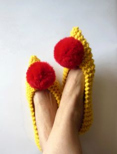 Yellow Chunky slippers for women Witches shoes by NENAKNIT