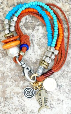 Heart Charm Bracelets: Glass, Mixed Metals and Leather Charm Bracelets XO Gallery Jewelry Leather Charm Bracelets, Leather Jewelry, Boho Jewelry, Jewelry Crafts, Beaded Jewelry, Jewelery, Jewelry Bracelets, Handmade Jewelry, Beaded Necklace
