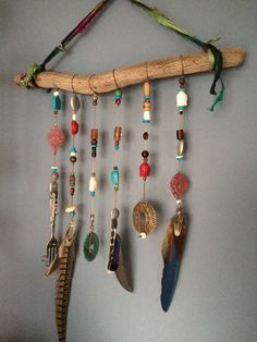Driftwood Feather Mobile by CinagroFarm on Etsy