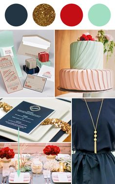 Navy, gold, red and mint wedding colour palette  | Squirrelly Minds