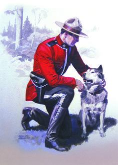 A Mountie posing with the official state dog of Alaska, the Alaskan Malamute. Although these smart dogs are predominantly used as sled dogs in the North, they have also made their way into the home as family pets. Due South, Police, Canadian Things, Saskatchewan Canada, Canada Eh, Canadian History, Alaskan Malamute, Le Far West, Western Art