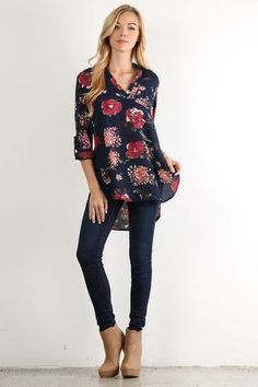 Floral Roll Tab Blouse - Paige & Reece