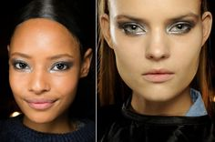 Beauty got the futuristic touch, at New York Fashion Week, with a metallic take on the traditional smoky eye proving to be very popular. We also spotted silver nails and even a gold shimmer lip at