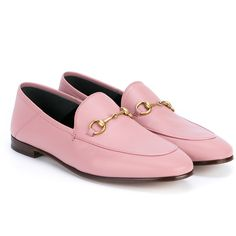 Gucci Jordaan Horsebit Loafers (1,870 SAR) ❤ liked on Polyvore featuring shoes, loafers, flats, gucci, pink flat shoes, leather shoes, horse bit loafers, flat shoes and leather loafers