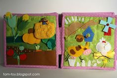 Quiet book for Caitlyn, busy book, gift for children, farm page, felt vegetables, farm animals, where the food comes from, развивающая книжка, ферма, овощи из фетра, домашние животные, кто что даёт
