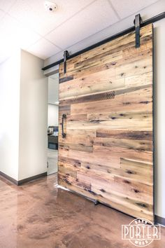 Made from our Tobacco Barn Brown material, sanded to smooth and has a Dirty Brush Clear finish.This process encourages the green in the reclaimed poplar to stand out. Sliding Door Design, Diy Sliding Barn Door, Sliding Doors, Building A Barn Door, Building A Pool, Building A House, Bella Vista, Old Houses, Abandoned Houses