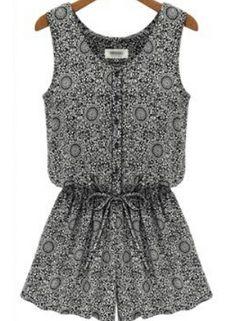 Black Sleeveless Floral Slim Buttons Jumpsuit US$22.33