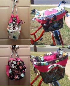 reversible bike basket liner with drawstring handles From Katie Kouture on etsy