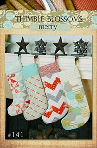 "Merry- pattern 141 PAPER Pattern @Laura Lorenzetti Thimble Blossoms: Pattern: $8.95. This pattern includes all the instructions to make the 4 stockings shown on the cover. Stockings are 18"" tall.~Ready to ship.~PLEASE NOTE that this is a PAPER version of this pattern, and it will be mailed to the address provided at checkout."