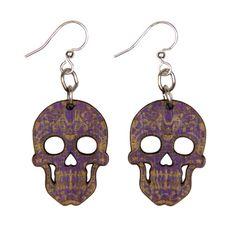 Wood Purple Sugar Skull Earrings from The Purple Store! Gothic Themes, Sugar Skull Earrings, Purple Halloween, Skeletons, Skulls, Drop Earrings, Detail, Store, Wood