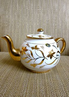 Gilt Floral Porcelain Teapot Arthur Wood England Handpainted 22K Gold Banding Knob Handle & Spout Tea Party Time