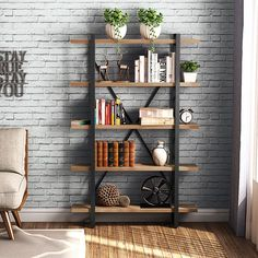 Fusing style and storage, this clean-lined 5 Tier Etagere Bookcase is perfect for putting priz. Open Bookcase, Etagere Bookcase, Living Room Shelves, Living Room Decor, Regal Industrial, Vintage Industrial, Industrial Style, Farmhouse Bookcases, Industrial Furniture
