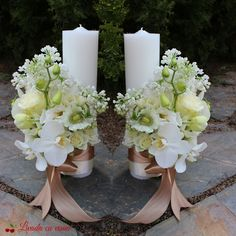 Lumanari botez sau nunta Candle Centerpieces, Christmas Centerpieces, Advent Candles, Pillar Candles, Flower Decorations, Wedding Decorations, Starry Night Wedding, Baptism Candle, Church Flower Arrangements