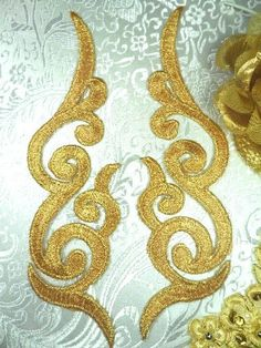 Embroidered Applique MIRROR PAIR Gold Scroll Metallic Iron On Patch Measures: x 2 each Use for any of your craft projects. Iron on, sew on or Hand Embroidery, Embroidery Designs, Beaded Mirror, Lace Tape, Zeina, Diy Crystals, Rhinestone Appliques, Iron On Applique, Arabesque