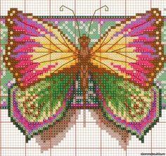 Cross stitch butterflies and chart. Cross stitch butterfly.
