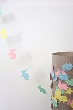 pastel bunny garland- adorable for Easter, baby shower or inexpensive decor for baby's room.