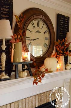 FALL Mantle Decoration Inspiration I loved the shutters behind the candle/lights and the little stool for the candles. Thanksgiving Decorations, Seasonal Decor, Holiday Decor, Fall Home Decor, Autumn Home, Autumn Decorating, Decorating Ideas, Decor Ideas, Farmhouse Wall Decor