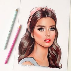 Portrait by Natalia Vasilyeva Fashion Design Sketchbook, Fashion Design Drawings, Long Hair Drawing, Beautiful Girl Drawing, Unicorn Art, Fashion Painting, Color Pencil Art, Winter Pictures, How To Draw Hair