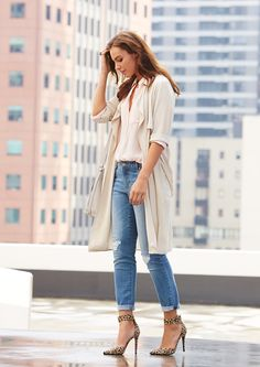 Featuring - Soft Drape Trench - Relaxed Shirt - Distressed Mid Wash Jean