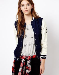 Pull&Bear Baseball Jacket With Leather Look Sleeve http://ootdmagazine.com