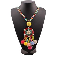 Colorful Ball Bead Long Chain Necklace For Women Shell Charm Pendant Tassel Statement New Necklace Jewelry Long Chain Necklace, Tassel Necklace, Jewelry Necklaces, Tassels, Shell, Colorful, Engagement, Beads, Pendant