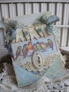 shabby chic birds on a branch JOY banner key hole hydrangia heart handmade card