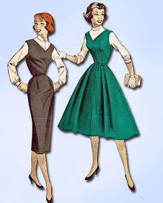 1950s Misses Butterick Sewing Pattern 7432 Uncut Misses Jumper Dress Sz 14 32B