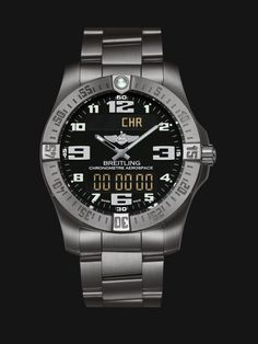 Aerospace Evo watch by Breitling - satin brushed titanium case and bracelet with black dial