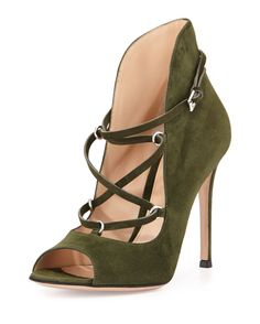Gianvito Rossi Lace-Up Suede U-Bootie | Buy ➜ http://shoespost.com/gianvito-rossi-lace-up-suede-u-bootie/