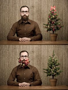 holiday photo card mustache man with Christmas tree ornaments