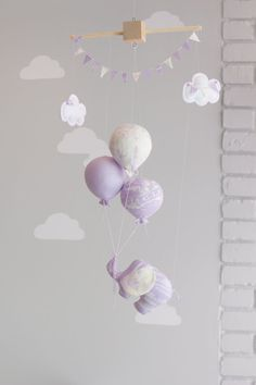 Elephant Baby Mobile Balloon Mobile Nursery by sunshineandvodka