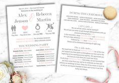 DIY Relationship timeline wedding program, funny wedding program