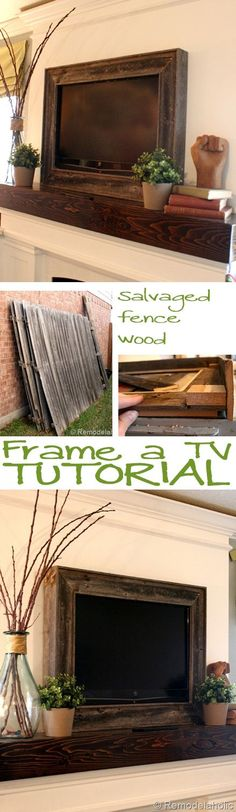 Frame a Wall Mount TV Tutorial - {with salvaged fence wood}