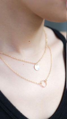 Double Pendant Necklace in Gold – pasteldress
