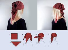 How to Tie a Pirate Bandana. A pirate bandana is a great way to complete your pirate costume. Choose between the traditional pirate bandana where your hair is covered or the thinner look where the bandana is used as a headband. Bandana Pirate, Head Scarf Styles, Hair Styles, Style Nomade, Ponytail Wrap, Gypsy Costume, Cowgirl Costume, Halloween Kleidung, Fiesta Party