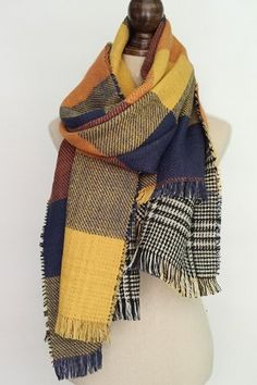 Stylish Plaid and Houndstooth Pattern Tassel Warmth Reversible Scarf For Women
