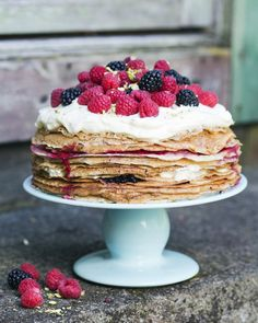 Pancake cake for C: plus coloured yellow (chick yellow) icing on top, and one…