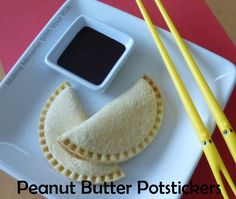 April Fools Day Fun Food - Peanut Butter Potstickers with Chocolate Dipping Sauce