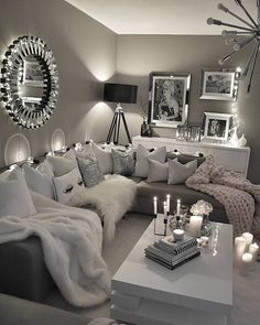 Black And White Living Room Interior Design Ideas | Dark ceiling ...