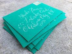 The Ginger Pen Lettering Studio - hand lettering, calligraphy, modern calligraphy Brush Lettering, Lettering Design, Hand Lettering, Calligraphy Envelope, Modern Calligraphy, Custom Envelopes, Addressing Envelopes, Note Cards, Studio