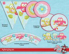 Printable design of owls in the forest / Diseños de Imprimible de buhos en el bosque Baby Girl Birthday, Birthday Ideas, Ideas Para, Baby Shower, Party, Kids, Owl Bird, Barn Owls, Parties Kids