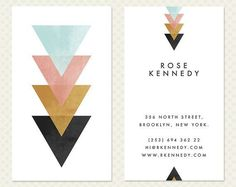 Geometric Business Card Design Modern Minimal Chic Elegant Branding Vertical Calling Card Biz Card Coral Mint Tribal Triangle Arrow