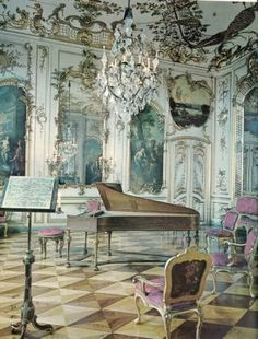 Baroque music room- around 1600 people decide they wanted to find a more pure form of music. The complicated polyphony of the Renaissance was abandoned and simplicity was embraced. This was Baroque.