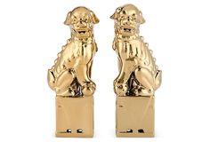 One Kings Lane - Asian Fusion - Sitting Foo Dogs, Gold