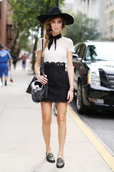 NYFW Street Style Day 5: Chiara Ferragni managed to be both demure and fashion forward in her black-and-white look.