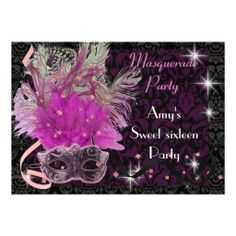 Pink & purple masquerade sweet 16 Birthday party Custom Announcement